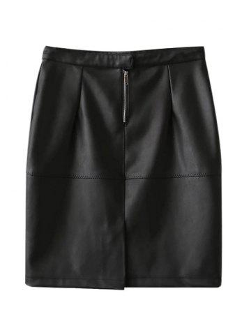 Slit High Waisted Faux Leather Bodycon Skirt