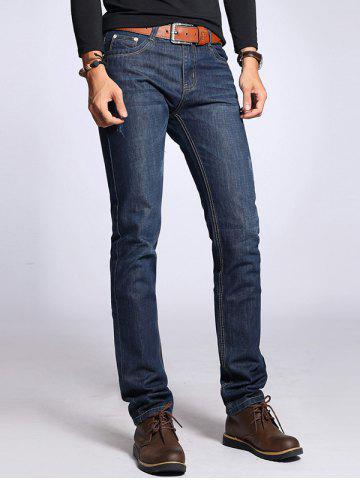Sale Sratched Five-Pocket Zipper Fly Straight Leg Jeans