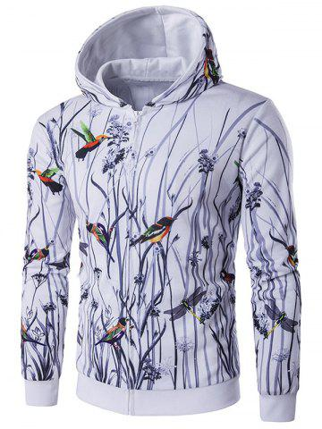 Discount Long Sleeve Bird Printing Zippered Hoodie WHITE 2XL