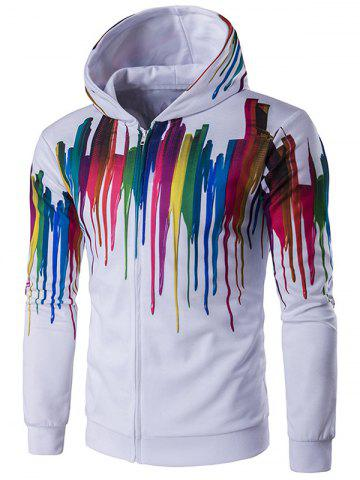 Shop Long Sleeve Paint Dripping Printed Zippered Hoodie WHITE 2XL