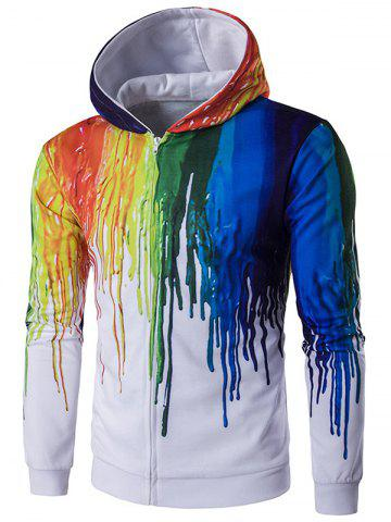 New Zip Up Long Sleeve Paint Dripping Printing Hoodie - XL WHITE Mobile