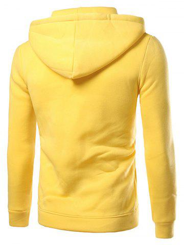 Unique Contrast Paneled Drawstring Zippered Two Tone Hoodie - 2XL YELLOW Mobile