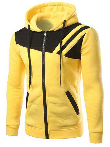 Buy Contrast Paneled Drawstring Zippered Two Tone Hoodie - 2XL YELLOW Mobile