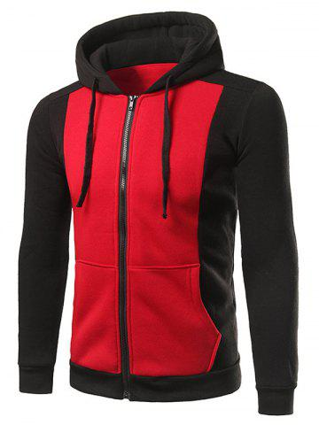 Zip Up Pocket Drawstring Two Tone Hoodie - Red - L