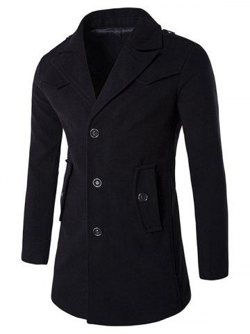 Affordable Epaulet Design Button Pocket Single Breasted Coat