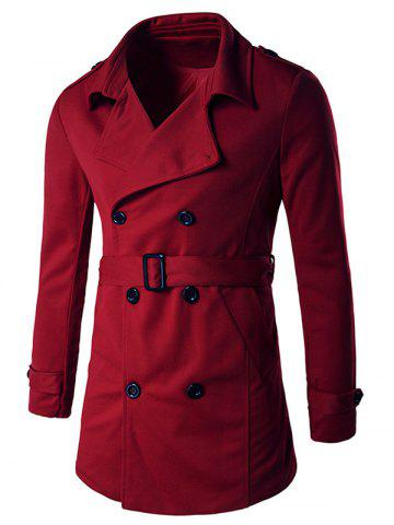 Cheap Double-Breasted Tab Cuff Epaulet Design Belted Trench Coat RED XL