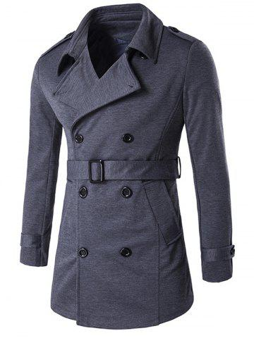 Double-Breasted Tab Cuff Epaulet Design Belted Trench Coat - Gray - L