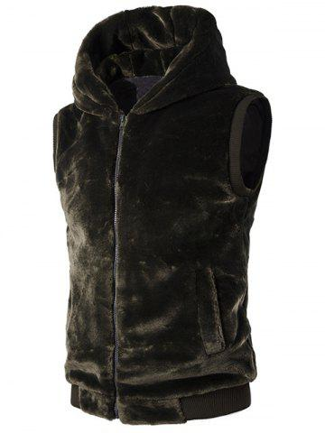 Trendy Rib-Hem Zip Up Hooded Plush Fleece Vest