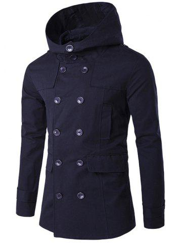 Double Breasted Spliced Hooded Wind Coat - Cadetblue - L