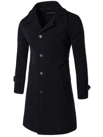 Outfits Single Breasted Wool Blend Wind Coat BLACK 2XL