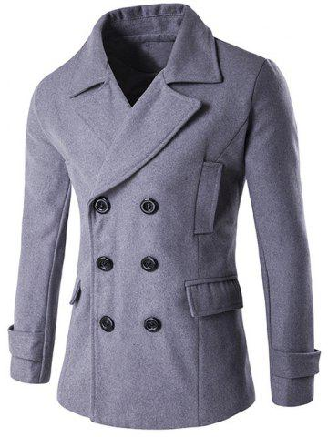 Shop Double Breasted Spliced Wool Blend Coat GRAY XL