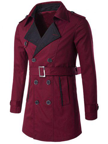Notched Collar Color Block Trench Coat - WINE RED 2XL