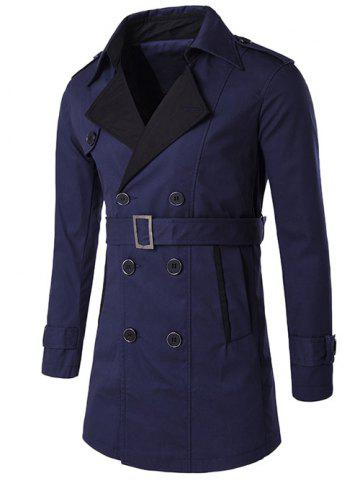 Notched Collar Color Block Double-Breasted Trench Coat - Purplish Blue - M
