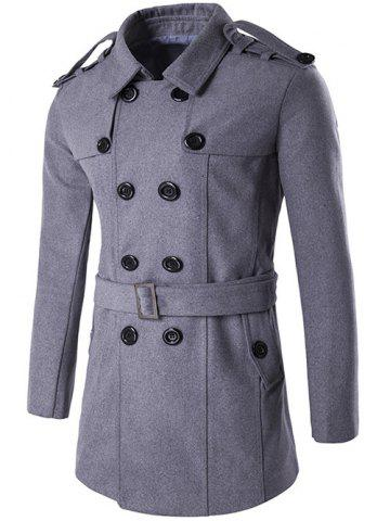 Outfit Double Breasted Epaulet Design Trench Coat GRAY 2XL