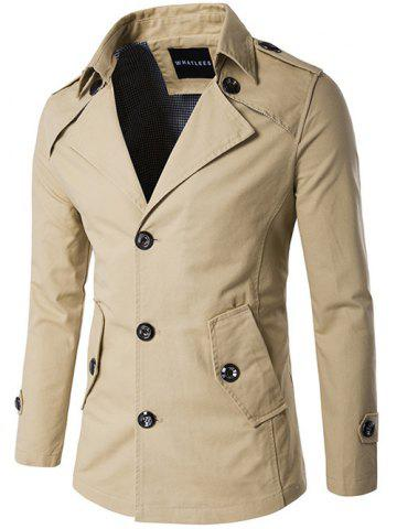 Online Single Breasted Epaulet Design Wind Coat KHAKI 2XL