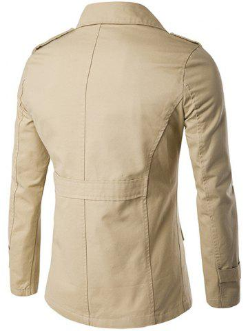 Buy Single Breasted Epaulet Design Wind Coat - XL KHAKI Mobile