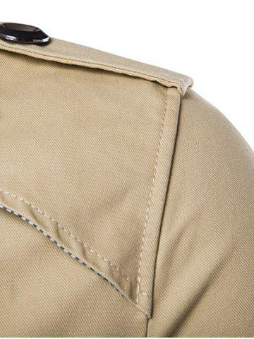 Unique Single Breasted Epaulet Design Wind Coat - XL KHAKI Mobile