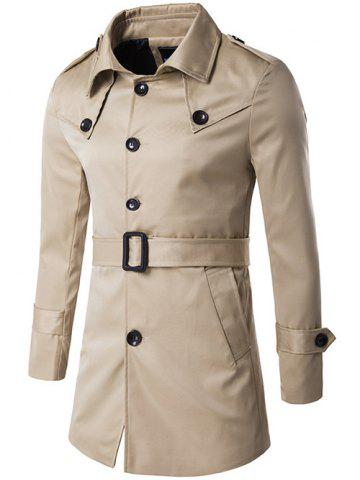 Cheap Single Breasted Epaulet Design Trench Coat