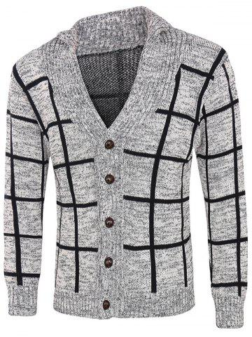 Hot Grid Pattern Heathered Button Up Cardigan GRAY 2XL