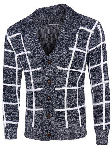Grid Pattern Heathered Button Up Cardigan - Cadetblue - M
