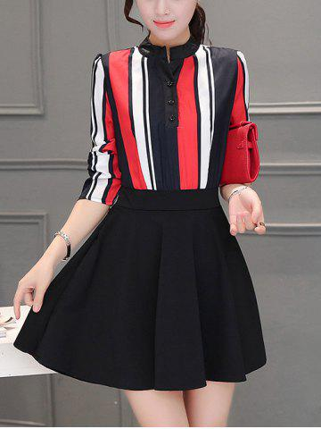 Colorful Striped Patchwork Swing Dress - Red - 2xl