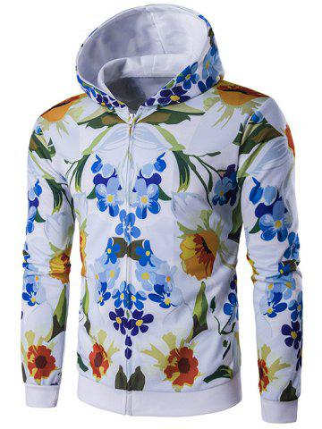 Sale Floral Printed Zip-Up Hoodie FLORAL 2XL
