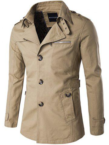 Outfits Single Breasted Zipper Pocket Epaulet Coat