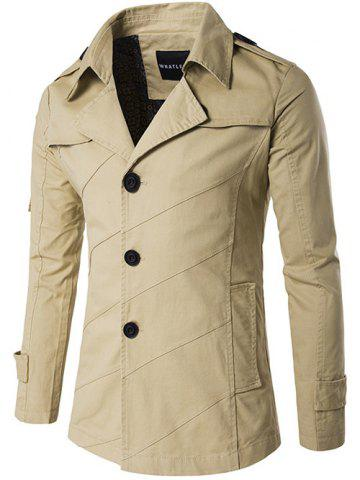 Shops Single Breasted Line Pattern Epaulet Trench Coat KHAKI M