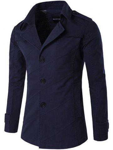 Single Breasted Line Pattern Epaulet Trench Coat - Purplish Blue - L