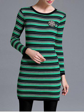 Outfit Striped Slimming Longline Knitwear GREEN ONE SIZE