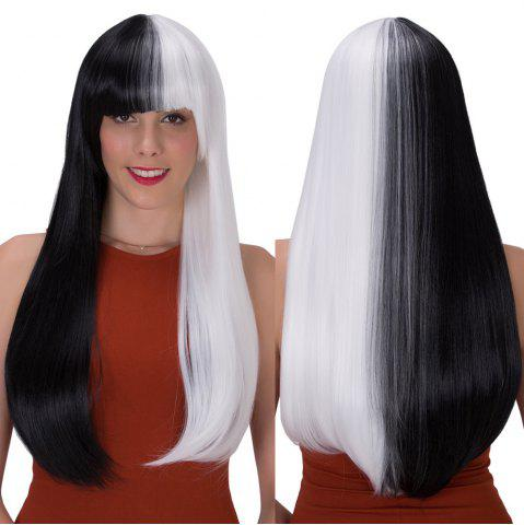Latest Stunning Double Color Long Full Bang Straight Tail Adduction Synthetic Wig WHITE/BLACK