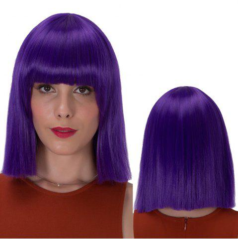 Affordable Stunning Short Full Bang Straight Synthetic Wig