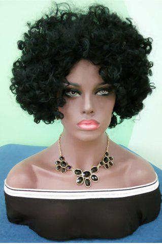Short Towheaded Afro Curly Synthetic Wig - BLACK