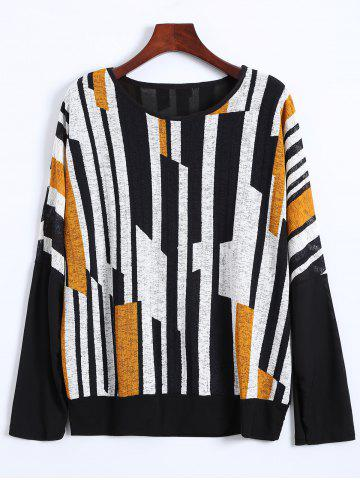 Outfit Color Block Plus Size Batwing Sweater