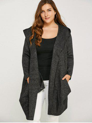 Sale Long Hooded Plus Size Cardigan With Pockets