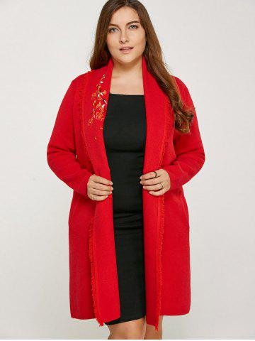 Online Wintersweet Embroidery Frayed Edge Long Cardigan