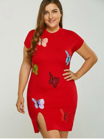 Outfits Plus Size Dress with Butterfly Embroidery
