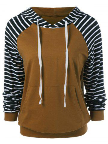 Shops Striped Trim Drawstring Hoodie