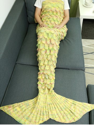Unique Warmth Hollow Out Design Knitted Mermaid Tail Blanket