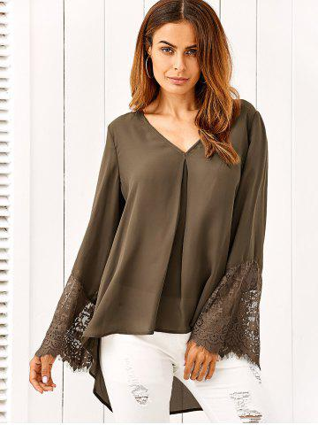Discount Lace Patchwork Sleeve High Low Blouse