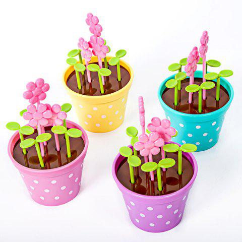 Fashion Green Biodegradable Random Candy Color Wave Point Potted Fruit Fork Set