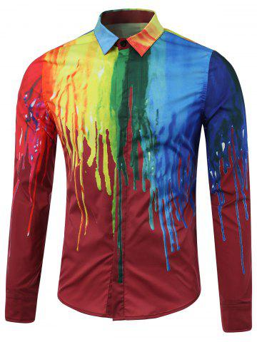 Best Colorful Paint Dripping Print Covered Button Front Long Sleeve Shirt RED 5XL