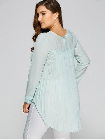 Plus Size High Low Pleated Blouse - Light Green - S