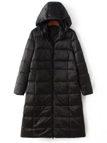 Fancy Long Sleeve Hooded Quilted Long Winter Jacket BLACK 2XL