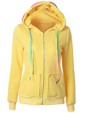 Trendy Drawstring Casual Zipper Up Hoodie