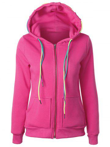 Buy Drawstring Casual Zipper Up Hoodie