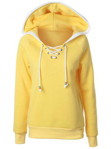 Shop Casual Raglan Sleeve Lace Up Pullover Hoodie YELLOW XL