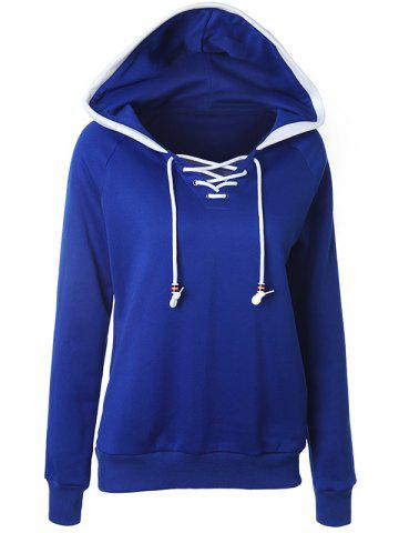 Casual Raglan Sleeve Lace Up Pullover Hoodie - Deep Blue - S
