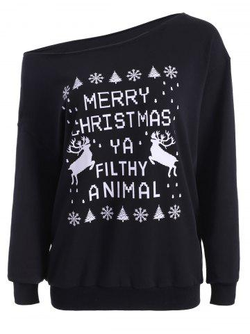 Chic Skew Neck Christmas Pullover Sweatshirt BLACK XL