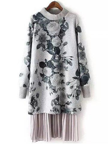 Long Sleeve Floral Print Layered Sweater Dress - Gray - L